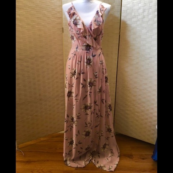 5b04cdc565 Pink Floral Ruffle Maxi Dress With Lace Up Back. M_5b122f97e944ba36dbef48ee